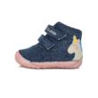 """D.D.Step Kislány """"Barefoot"""" vászoncipő kék-pink,unikornis mintával két tépőzárral állítható , ovis benti cipőnek is használható"""