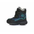 D.D.Step Vízálló kék-fekete magas szárú két tépőzáras kisfiú bokacipő csillag mintával