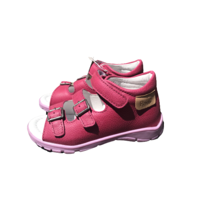 Ponte20 Szupinált rózsaszín lány szandál .Tépőzárral és csattal szabályozható, kívül-belül bőr gyerek szandál normál és széles lábra is jó