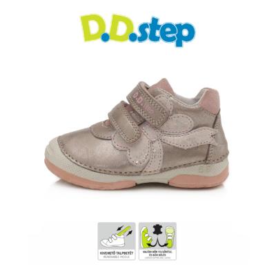 D.D.step pezsgőszínű két tépőzáras lány cipő masni mintával, első lépés cipőnek is alkalmas