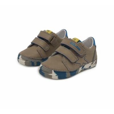 D.D.Step szürke-kék terepszínű talppal Kisfiú cipő, két tépőzáras csillag mintával igazi menő nagyfiús