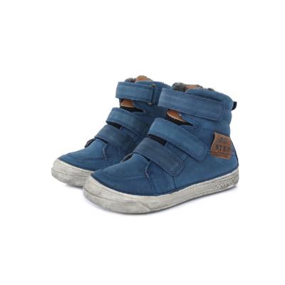 D.D.step kék magas szárú három tépőzáras téli,bélelt,vízlepergető fiú bakancs
