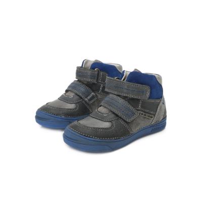 D.D.step szürke-kék két tépőzáras magas szárú bőr cipő