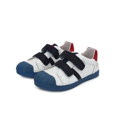 D.D.step fehér-piros-kék két tépőzáras fiú bőr cipő
