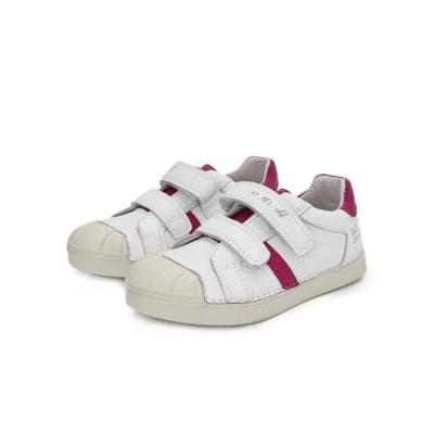 D.D,step fehér-rózsaszín két tépőzáras lány bőr sportcipő