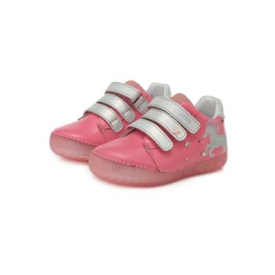 D.D.Step Rózsaszín Kislány, oldalt világító cipő,két tépőzáras , unikornis mintával