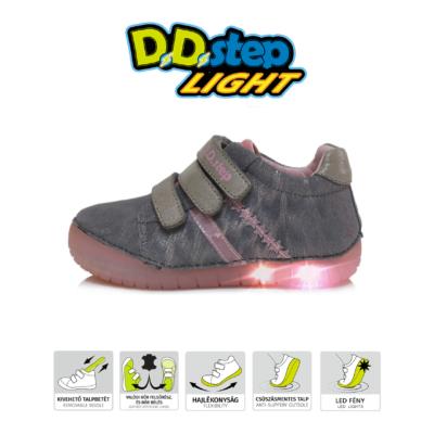 D.D.step szürke-rózsaszín világító talpú három tépőzáras lány cipő csillag díszítéssel