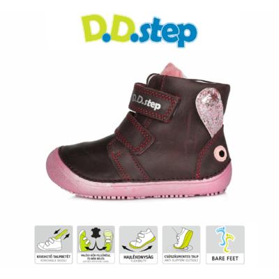 """D.D.Step Kislány bordó két tépőzáras vízlepergetős hátul nyuszi mintával""""Barefoot"""" bokacipő"""
