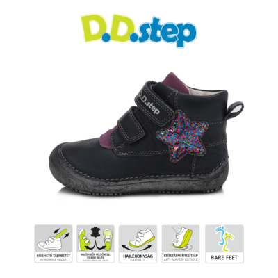 """D.D.Step Kislány """"Barefoot"""" sötétkék-lila két tépőzáras vízlepergető csillogó csillag mintávalbokacipő"""