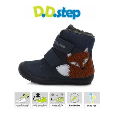 """D.D.Step sötétkék magas szárú két tépőzáras ,vízlepergető,téli,bélelt Kisfiú """"Barefoot"""" bokacipő"""