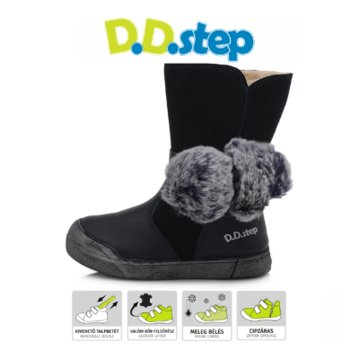 D.D.Step Vízlepergető,kék magas szárú cipzáros téli,bélelt lány csizma