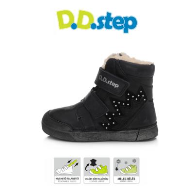 D.D.Step nagyon sötét lila magas szárú három tépőzáras, téli, bélelt ,Vízlepergető kislány bokacipő csillogó kövekkel