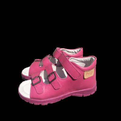 Ponte20 Szupinált mályva- rózsaszín lány szandál .Tépőzárral és csattal szabályozható, kívül-belül bőr gyerek szandál normál és széles lábra is jó
