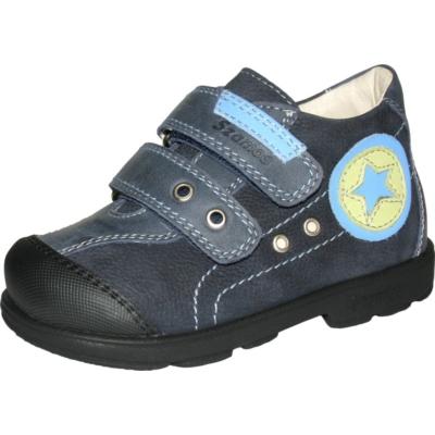 Szamos szupinált kék két tépőzáras fiú cipő csillag mintával