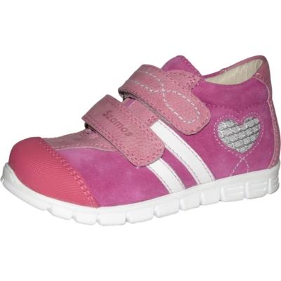 Szamos rózsaszín-fehér két tépőzáras lány cipő szívecskével