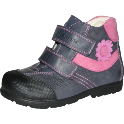 Szamos szupinált kék-pink két tépőzáras magas szárú lány cipő, kis virágokkal