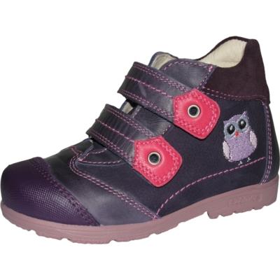 Szamos szupinált lila-pink két tépőzáras lány cipő hímzett bagoly mintával