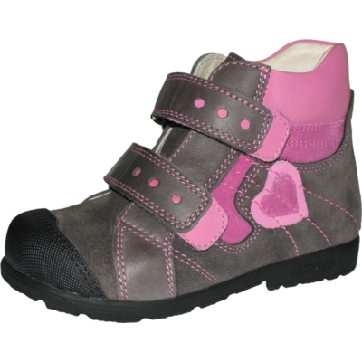 Szamos szupinált szürke-rózsaszín lány cipő  szívecskével az oldalán
