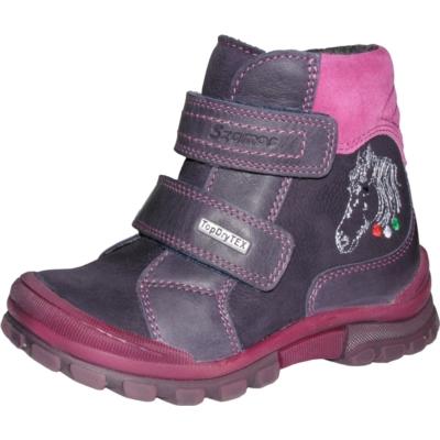 Szamos lila-pink magas szárú két tépőzáras texes,vízálló,téli,bélelt lány bakancs ló hímzéssel