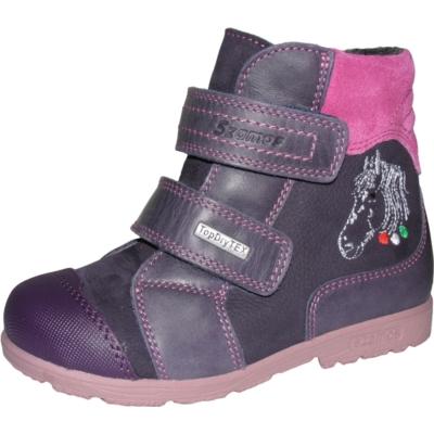 Szamos szupinált lila-pink magas szárú két tépőzáras texes,vízálló,téli,bélelt bakancs ló hímzéssel