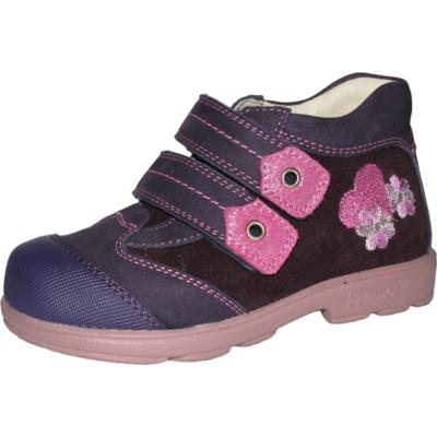 Szamos szupinált sötét lila-pink lány cipő szívecskével és kis virággal
