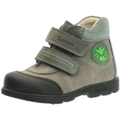 Szamos szupinált szürke magas szárú fiú cipő zöld csillag mintával