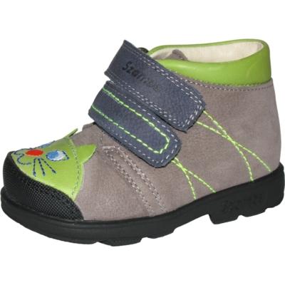 Szamos szupinált szürke-zöld két tépőzáras fiú cipő cica mintával