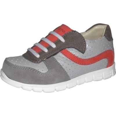 Szamos átmeneti cipő szürke piros dísz fűzős. tépőzáras