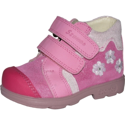 Szamos szupinált pink -csillogó pink két tépőzáras lány cipő erősített orral, kis virágokkal