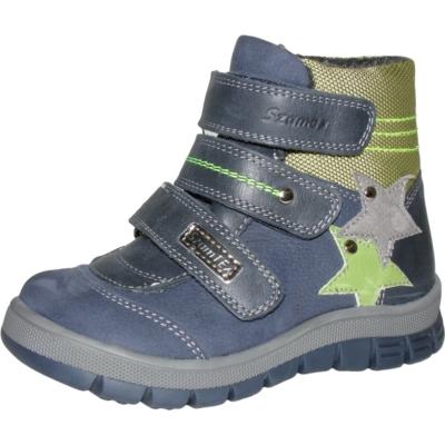 Szamos kék-szürke-zöld magas szárú három tépőzáras texes,vízálló,téli,bélelt csillag mintával