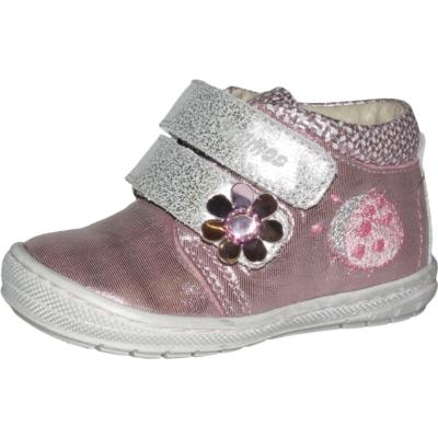 Szamos ezüst-rózsaszín két tépőzáras első lépés cipő ,katica hímzéssel