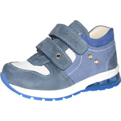 Szamos átmeneti kék fehér ,két tépőzáras, nagyon menő sportcipő (bőr) vízlepergető , jól tartja a gyerek lábát, nem engedi bedőlni a bokát