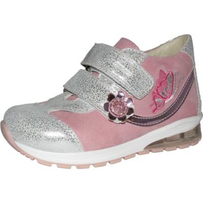 Szamos ezüst-rózsaszín lány cipőpillangó hímzéssel