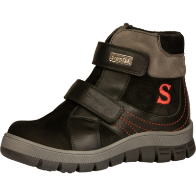 Szamos fekete két tépőzáras magas szárú téli ,bélelt, texes, vízálló nagyfiús bakancs ,cipő