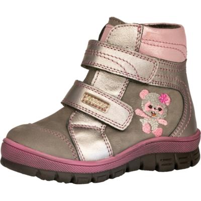 Szamos Szürke -pink két tépőzáras magas szárú , texes,vízálló,téli,bélelt lány cipő maci hímzéssel mintával
