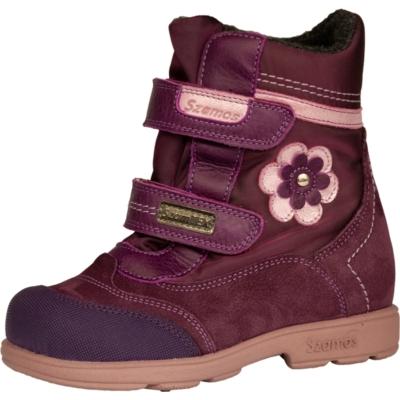 Szamos szupinált lila -rózsaszín magas szárú két tépőzáras texes, vízálló, téli, bélelt  lány bakancs rózsaszín virágokkal