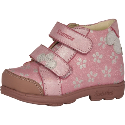 Szamos szupinált rózsaszín-ezüst , két tépőzáras ,kemény kérgú ,kislány gyerekcipő kisautó mintával