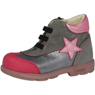 Szamos Szupinált lány supinált átmeneti cipő csillag mintával, szürkekék pink , rugalmas dísz fűző oldalt cipzárral tudja felvenni a gyerek 1616-40749