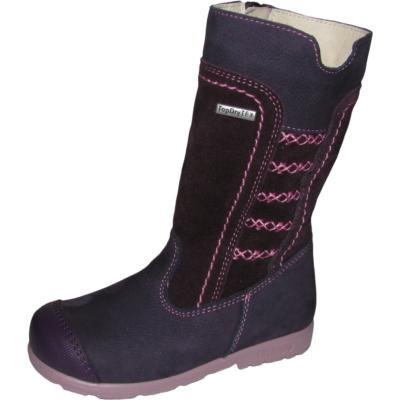 Szamos szupinált lila-rózsaszín magas szárú cipzáros texes,vízálló,téli,bélelt lány csizmarózsaszín mintával