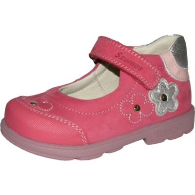 Szamos szupinált rózsaszín balerina cipő ezüst virágokkal