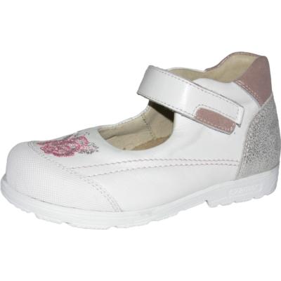 Szamos fehér-ezüst lány balerina cipő rózsaszín rózsa hímzéssel