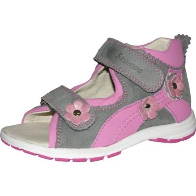 Szamos szürke-rózsaszín két tépőzára lány szandál keskeny lábra