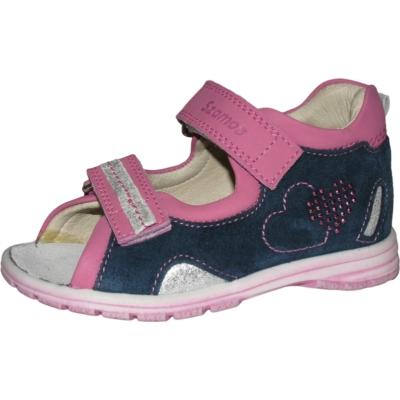Szamos kék-pink lány szandál csillogó szívecskével