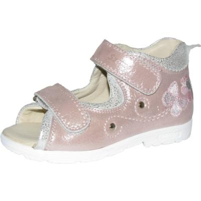 Szamos szupinált rózsaszín-ezüst két tépőzáras lány szandál keskeny lábra