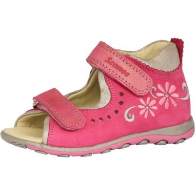 Szamos pink-ezüst két tépőzáras lány szandál virággal, nagyon jól tartja a gyerek lábát és visszakorrígálja a láb bedőlését