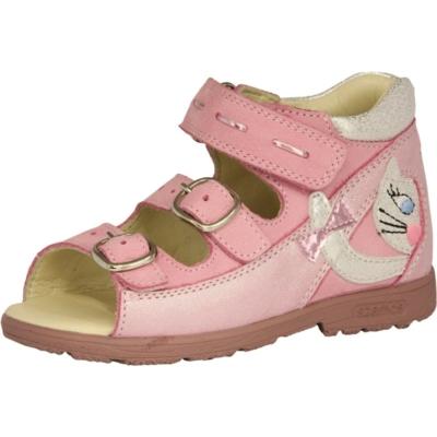 Szamos szupinált rózsaszin két csatt egy tépőzáras lány szandál cica  mintával, nagyon jól tartja a gyerek lábát és visszakorrígálja a láb bedőlését