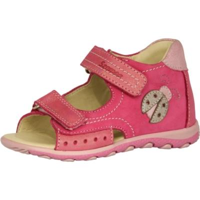 Szamos rózsaszin két tépőzáras lány szandál csillogó katica mintával, nagyon jól tartja a gyerek lábát és visszakorrígálja a láb bedőlését , keskeny és széles lábra is jó