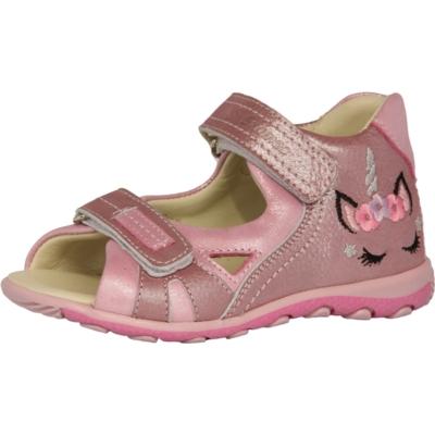 Szamos mályva-pink két tépőzáras lány szandál unkiornis mintával, nagyon jól tartja a gyerek lábát és visszakorrígálja a láb bedőlését