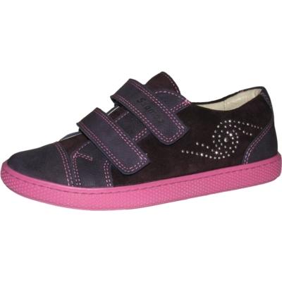Szamos lila-pink két tépőzáras lány cipő csillogó mintával, keskeny lábra is