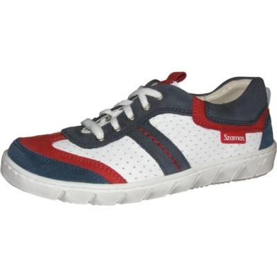Szamos fehér-kék-piros fűzős fiú bór cipő
